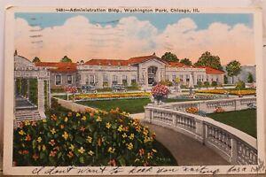 Illinois IL Chicago Washington Park Administration Building Postcard Old Vintage