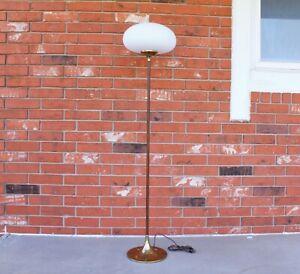 """1960's Vintage Mid Century Modern 56""""H Laurel Brass and Wood Mushroom Floor Lamp"""