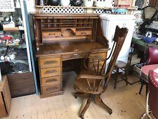 Antique Quarter Sawn Oak Rolltop Desk & Oak Chair