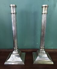 Silver Plated Ornate Dorian Style Column Candlestick Candle Holder Antique 11.5""
