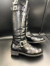 JIMMY CHOO 'Yule' Mock Croc Knee High Biker Boots Fur Lined Size UK 3.5 Eu 36.5