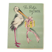 Vintage 40s For Baby Shower Good Wishes Greeting Card Ibis Bird Gift Flowers