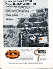 1966 Print Ad of Cordemex Mexican Hay Baler Twine