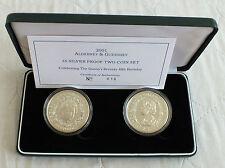 2001 QE2 75th Cumpleaños 2 x £ 5 corona plata prueba de conjunto de las Islas del Canal 10-cert. de autenticidad