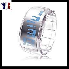 Montre transparente numérique à affichage LED BLEU digitale TOP TENDANCE