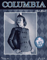 Columbia #101 c.1941 Knitting Pattern Book of Vintage Sweaters & Jackets
