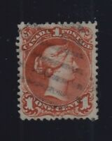 Canada Sc #22ii (1868) 1c Brown-Red Large Queen on Bothwell Paper F-VF