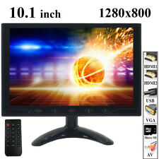 "10.1"" IPS PC CCTV Monitor HD 1280*800 Screen HDMI/VGA/USB/MicroSD/AV w/ Speaker"