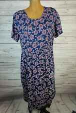 Hanna Andersson Navy Red White Floral Print Pockets 100% Cotton Dress  M