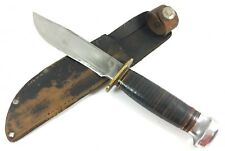 Rare 1923-53 Marbles IDEAL Knife Aluminum Pommel + Leather Sheath 1124-QQ