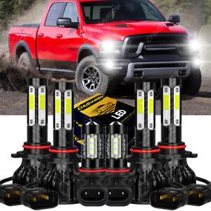 For Dodge RAM 1500 2500 3500 2013 2014 2015 4side LED Headlight Fog Light Bulbs