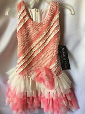 Isobella and Chloe Girls Serenity Coral Pink Ruffled Tiered Dress Size 3T-New