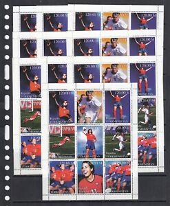 Women's soccer Football 1999 Turkmenistan MNH 9 v set perf X 10 Wholesale lot