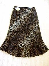 """Joseph Ribkoff Leopard Print Tiger Cat Chiffon Mermaid Frill Long Skirt 28""""W 10"""
