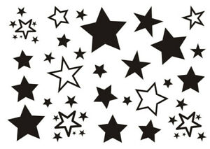 Black Stars Temporary Tattoo Sticker Waterproof Neck Hand Arm Shoulder Classic