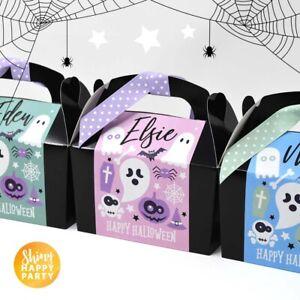 x8 Mini Personalised Halloween Black Pastel PartyTreat Bag Ghost Pumpkin