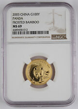 China 2003 100 Yuan 1/4 Troy Oz 999 Gold Panda Coin NGC MS69 Frosted Bamboo GEM