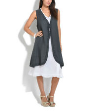 Size 18 100% Linen Shift Boho Dress Grey & White Layered Sleeveless BNWT #B-275