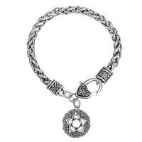 Star Rose Pentacle of the Goddess Wicca Pagan Pentagram Flower Men Bracelet