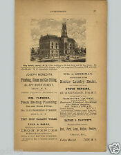 1878 PAPER AD Troy New York City Hall 150' X 82' Cost $108,000 to Build