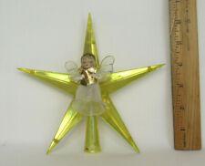 """Vtg 1950s 60s Angel On Star Christmas Tree Topper 6 1/2"""" Tall"""