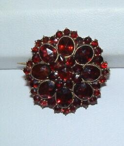 Victorian Gold Filled Antique Bohemian Garnet Pin Brooch