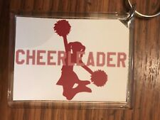 Cheerleading Keychain with Cheerleader with Pom Pom