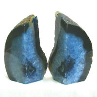 Blue Agate Bookend Set Large Polished Geode with Quartz Crystal 1633kg 15cm
