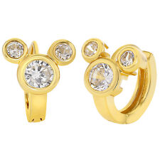 18k Gold Plated Mouse Hoop Earrings Clear CZ Kids Girls Teens 0.39""