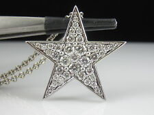 "Diamond Necklace 1.50cttw 14K White Gold Star 17"" Link Chain Pendant $4000"