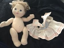 MY CHILD DOLL 1980's Mattel  Blonde Hair Blue Eyes NAVY WHITE DRESS LACE RIBBONS