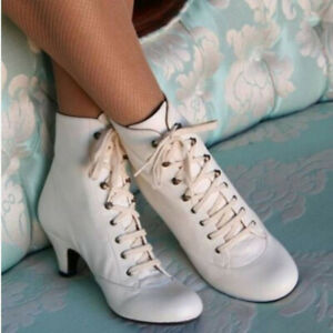 Women Low Kitten Heel Ankle Boots Ladies Victorian Retro  Lace Up Shoes
