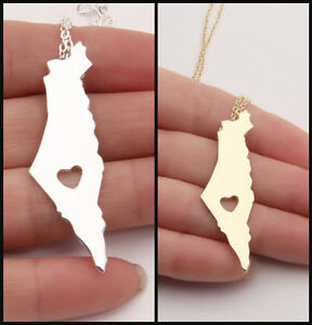 Map Country Palestine West Bank Gold Silver Israel Necklace Chain Pendant Flag