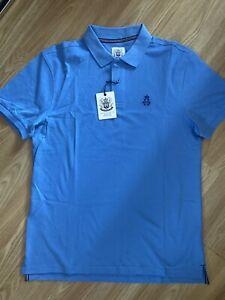 Hurlingham Polo 1875 New Men's Regular Fit Blue Large Polo Shirt RRP £60