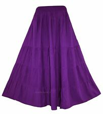 Purple Women BOHO Gypsy Long Maxi Tiered Skirt XL 18