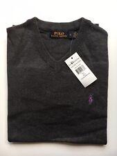 Mens Ralph Lauren Cotton Jumper Sweater Long Sleeve Grey Size Small RRP