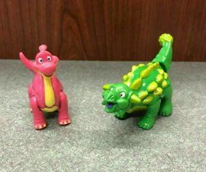 """Lot of 2 T-Rex Cafe Dinosaur Plastic Figures,, Stegosaurus Diplodocus 3"""" 4"""""""