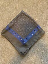Mens 100% Silk Printed Pocket Square Handkerchief Robert Talbott Taupe Blue