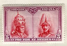 España; 1928 Papa Pio Rey Alfonso problema con bisagras de menta valor 5 C.