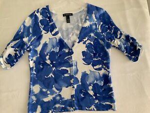 Womens INC International Blue Cardigan Sweater