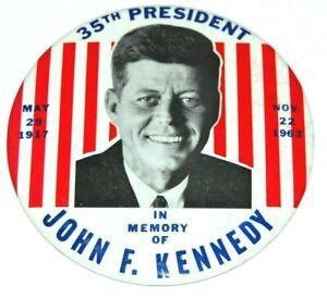 "1963 6"" JOHN F KENNEDY JFK MEMORIAL pin pinback button political presidential"