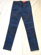 Total Girl size 12 Reg Skinny Jeans Blue Rose Print NWT Adjustable Waist