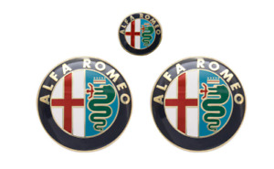 3pcs Alfa Romeo Hood Boot Trunk Steering Wheel Badges Emblems Stickers Golden