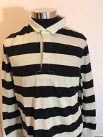 Kent & Curwen  England Men Long Sleeve Polo Rugby Shirt  XL Black&White  N4