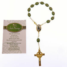 Gold colour metal green shamrock one decade rosary beads bracelet Irish Blessing