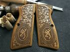 Browning Hi-Power Turkish Walnut Wood Grips. Partially Floral. US Based Seller +