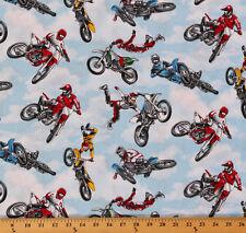 Cotton Motocross Racing Motorcycles Dirt Bikes Cotton Fabric Print D668.36