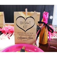 Personalised Stand Kraft Paper Bags Hens Night Survival Kit Favour Gift Bag