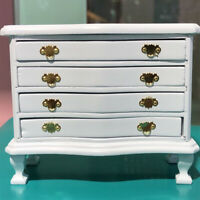 1/12 Dollhouse Miniature Living Room Wooden 4-Drawer Cabinet White