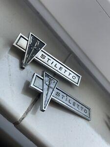 Two Sunbeam Stiletto Chrome Badges 11,5 X 5 Cm